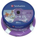 Диск DVD Verbatim 8.5Gb 8X CakeBox 25шт Printable Фото