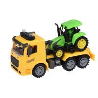 Спецтехника Same Toy инерционный Truck Тягач желый с трактором со свето Фото