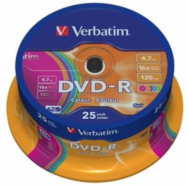 Диск DVD Verbatim 4.7Gb 16X CakeBox 25шт COLOUR (43732) - фото 1