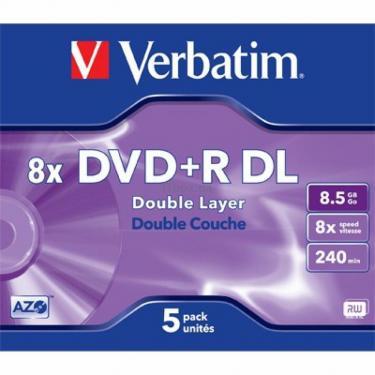 Диск DVD Verbatim 8.5Gb 8x Jewel 5шт Matt Silver (43541) - фото 1