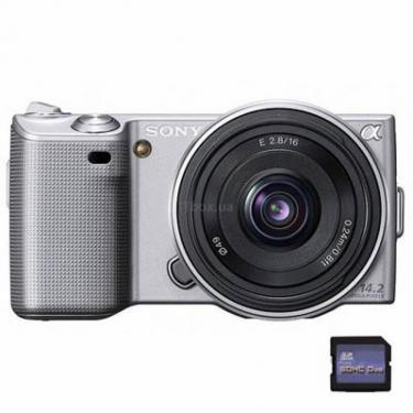 Цифровой фотоаппарат NEX-5 + 16mm + 18-55mm KIT silver Sony (NEX5DS.CEE2) - фото 1