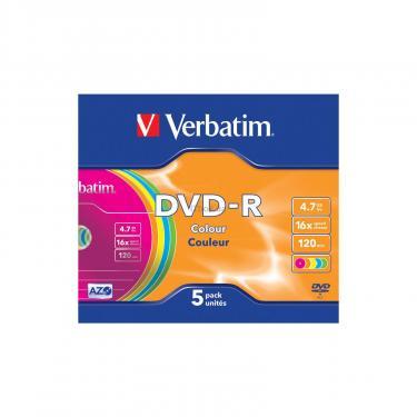 Диск DVD Verbatim 4.7Gb 16X Slim case 5 шт Color (43557) - фото 2