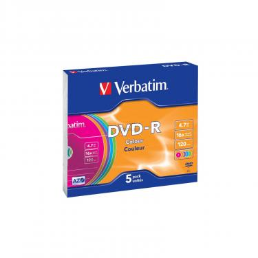 Диск DVD Verbatim 4.7Gb 16X Slim case 5 шт Color (43557) - фото 1
