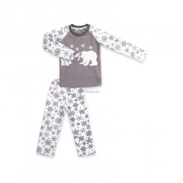 Пижама Matilda флисовая с мишками и снежинками (7161-116G-white) - фото 1