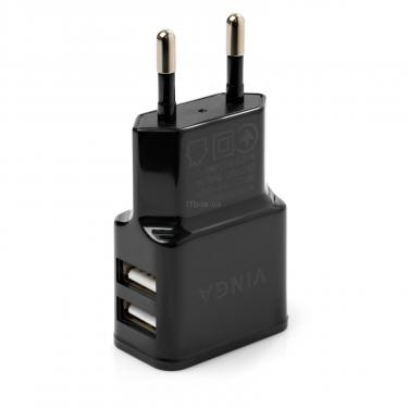 Зарядний пристрій Vinga 2 Port USB Wall Charger 2.1A (VCPWCH2USB2ABK) - фото 3