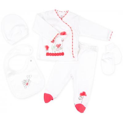 Набор детской одежды Bibaby 5 шт для девочек, с полянкой цветов кремовый-красный (62064-0-3m/G-red)