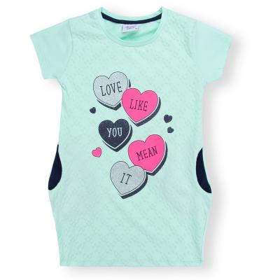 Платье Breeze с сердцами и карманами (8694-140G-mint)